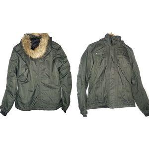 The North Face Snowboarding Green Fur Hood Jacket